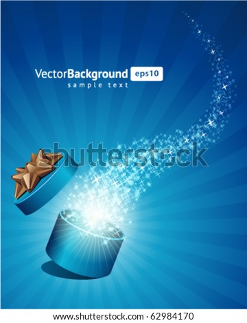 Open explore gift with fly snowflakes vector background