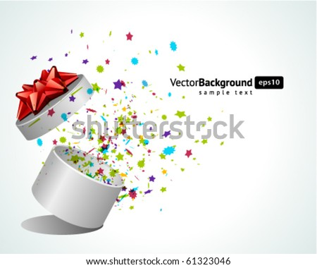 Open explore gift with fly stars vector background. Eps 10