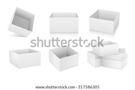 Open flat box. White object on white background, vector illustration #317586305