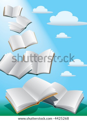Open flying books in the sky with sunshine. - stock vector