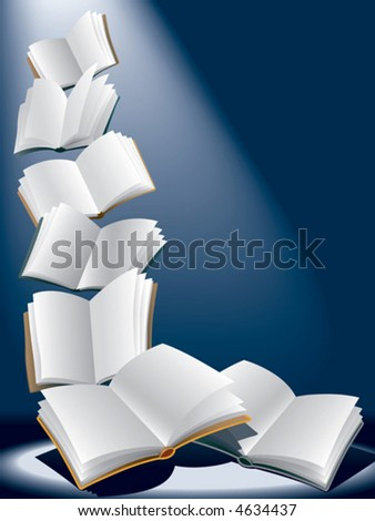 Open flying books, vector