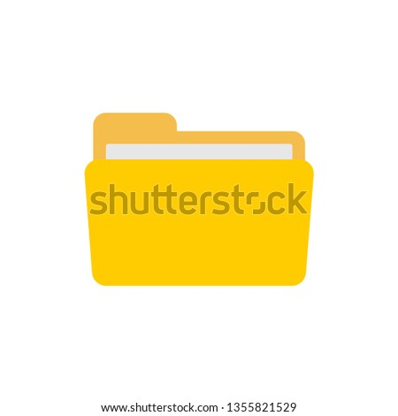 open folder icon. Folder with documents on white background, vector