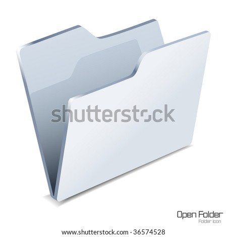 Open folder icon isolated. Vector illustration.