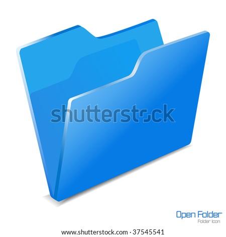 Open folder icon isolated. Vector illustration.