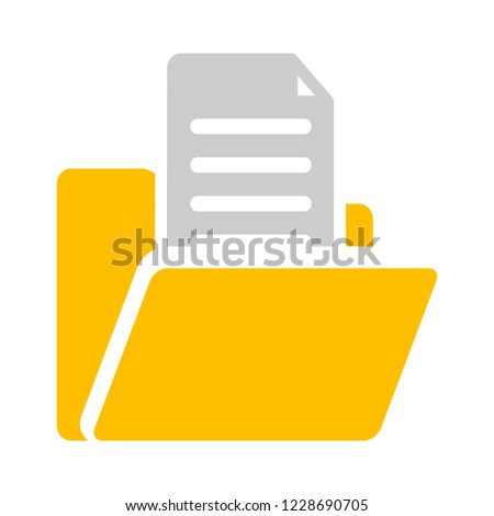 open folder icon. Open folder with documents. Folder icon isolated on white background.