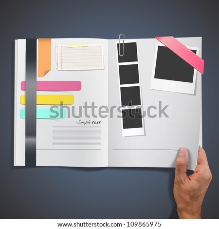 Open full white book with photo, text, paper, etc. Vector design.