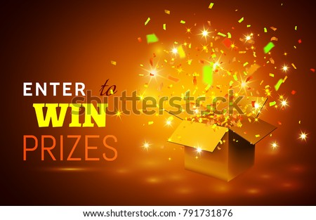 Open Gift Box and Confetti on yellow background. Enter to Win Prizes. Vector Illustration.