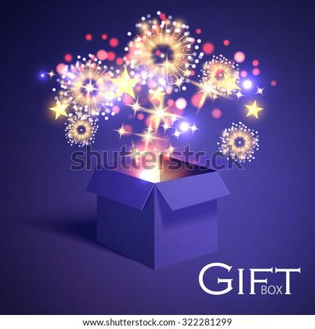 open gift box and magic light
