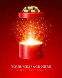 Open gift box and magic light fireworks Christmas vector background.