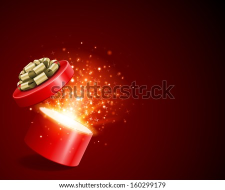 Open gift box and magic light fireworks Christmas vector background