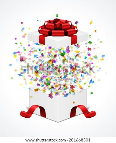 Open Gift Box And With Red Bow Ribbon Vector Illustration Fireworks Sparkles Confetti