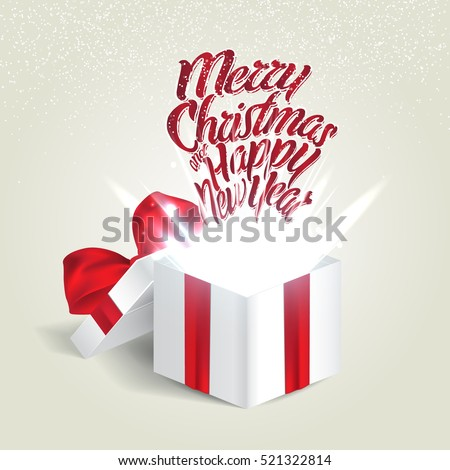 Open gift box with a red bow. Christmas Holiday. Vector illustration.