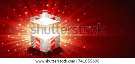 open gift box with a shining