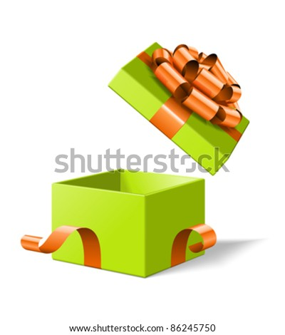 Open gift box with bow isolated on white. Vector illustration eps 10.