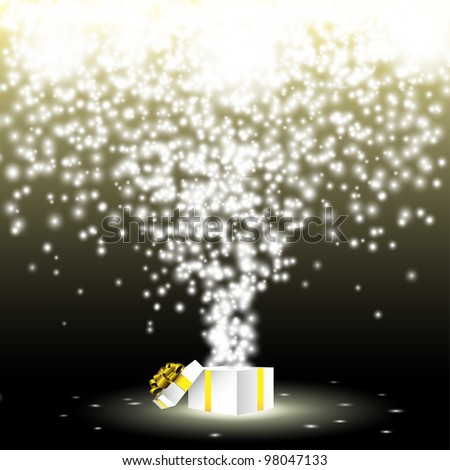 Open gift box with fireworks from lights.Vector eps 10
