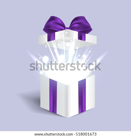 Vector Gift Box Isolated On Open With Light Effects