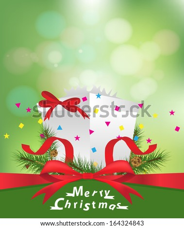 Open gift box with over green bokeh, Vector illustration design template
