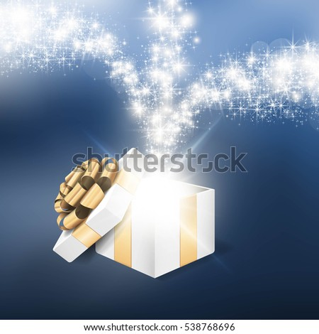 open gift box with shiny star