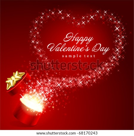 Open gift present box with fly stars heart shape Valentine's day vector background - Shutterstock ID 68170243