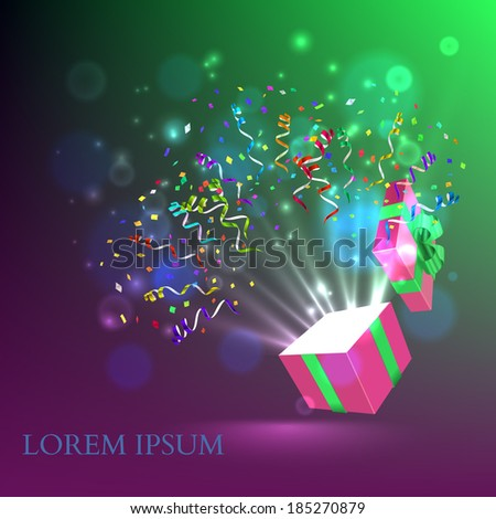 Open gift with fireworks from confetti Vector background