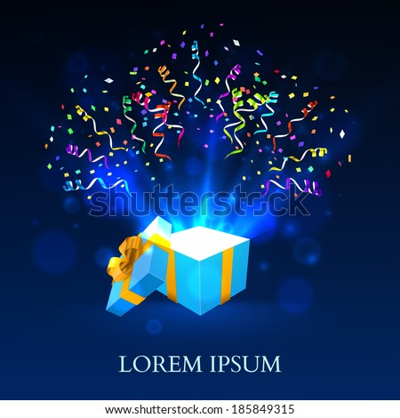 open gift with fireworks from
