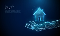 Open giving hand with country house icon. Low poly style design. Abstract geometric background. Wireframe light connection structure. Modern 3d graphic concept. Isolated vector illustration.