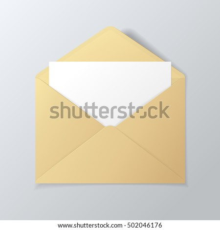 Open golden envelope with invitation card. Vector realistic template isolated from a background.