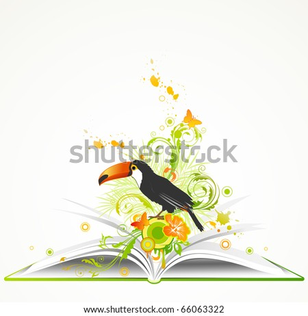 open green book with flowers and tropical bird