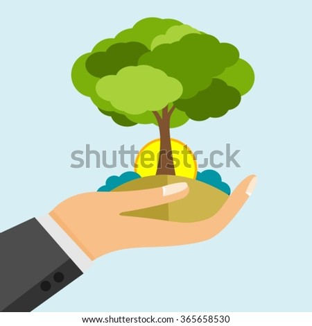open hand holding earth and