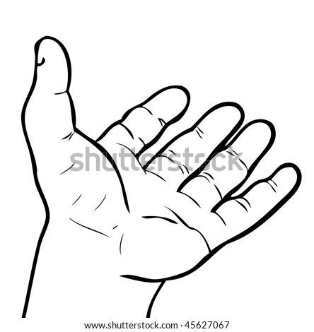 stock vector : Open hand tattoo emblem isolated on white background
