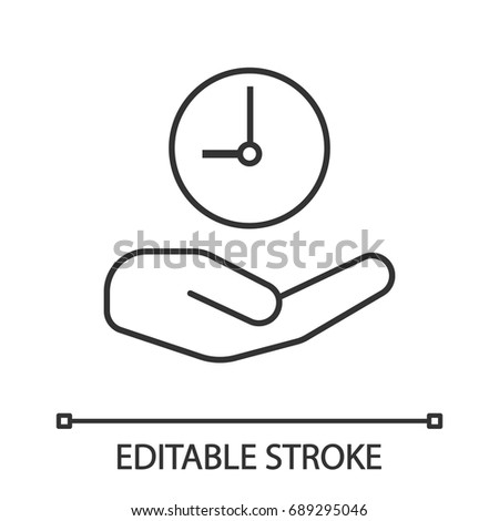 Open hand with clock linear icon. Thin line illustration. Time management. Contour symbol. Vector isolated outline drawing