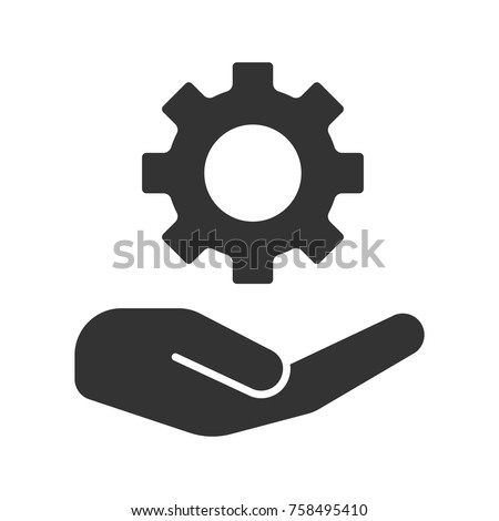 Open hand with cogwheel glyph icon. Technology progress. Silhouette symbol. Devices and machines care. Negative space. Vector isolated illustration