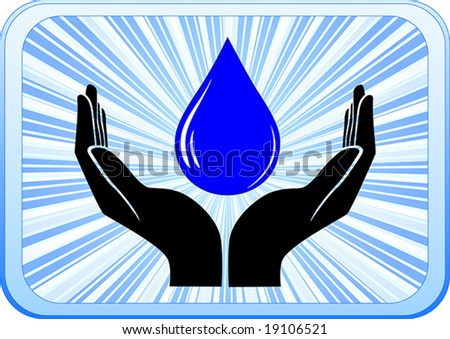 open hand with drop of water on blue shiny background
