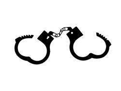 Open handcuffs icon. Black silhouette of unbuttoned handcuffs.