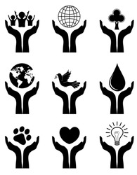 Open hands with different symbols silhouette. symbolizing protection of earth, animals, children , forests, nature, water, and power