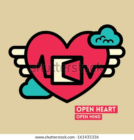 Open Heart and Mind Freedom Concept Vector Illustration
