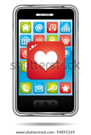 Open heart application on a a smartphone. vector icon.