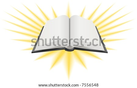 Open Holy Book Illustration.  A Vector illustration of an open holy book such as the Bible, Torah or Koran - stock vector