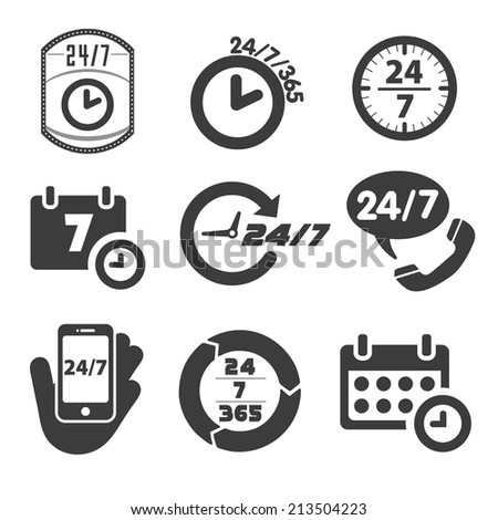 Open 24 hours a day and 7 days a week icons Stock foto ©