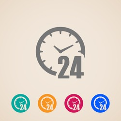 open 24 hours a day icons