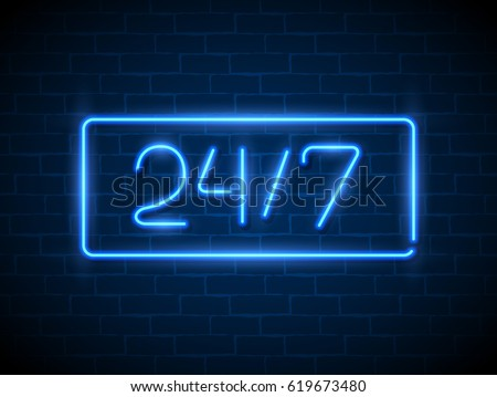 Open 24/7 Hours Neon Light on Brick Wall. 24 Hours Night Club / Bar Neon Sign. Vector Illustration.