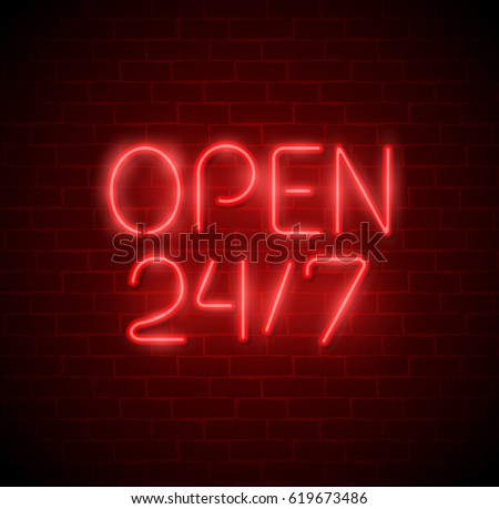 open 24 7 hours neon light on