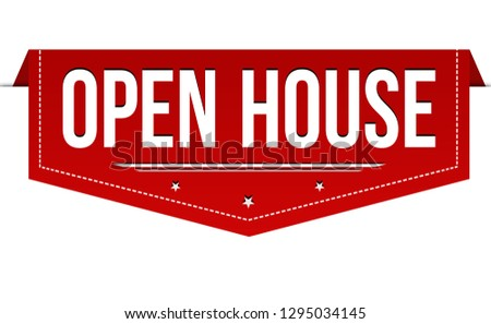 Open house banner design on white background, vector illustration