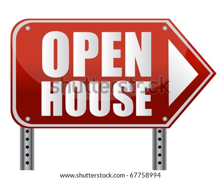 Open house sign isolated over a white background.