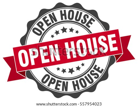 open house. stamp. sticker. seal. round grunge vintage ribbon open house sign