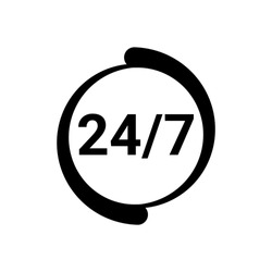Open 24/7 icon. Service 24 hours day and 7 days week. Open around clock. Black logo template. Flat isolated vector illustration on white background