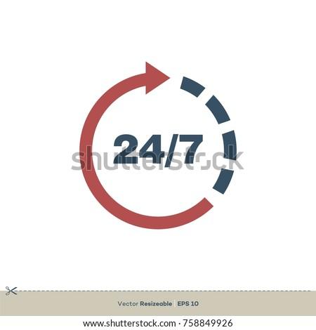 open 24 7 icon vector logo