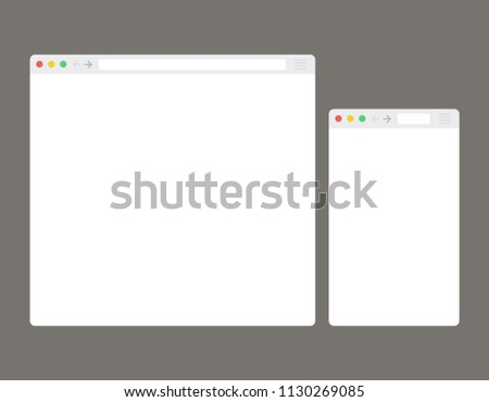Open Internet browser window in a flat style. Design a simple blank web page.  #1130269085