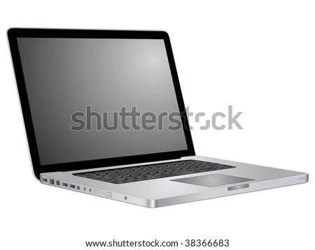 Open laptop showing keyboard and screen. Stylish silver notebook. Vector.