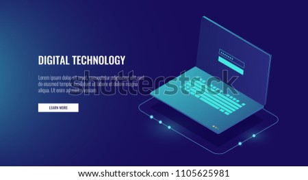 Open laptop with authorization form on screen, personal data protection and processing, information storage protocol isometric